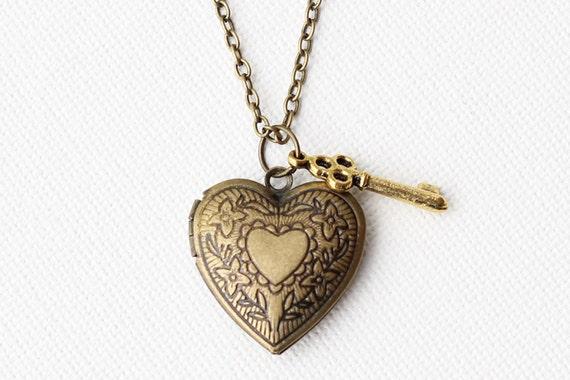 Heart Locket Pendant Necklace - Small gold key charm