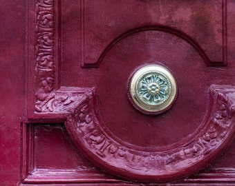 Paris Photo - Maroon Door and Knob, Paris, France, Architectural Detail Fine Art Photograph, Urban Home Decor