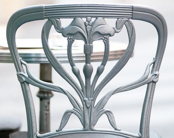 Paris Photo - BIstro Chair in Silver at the Petit Zinc Restaurant, Parisian Fine Art Photograph, Home Decor
