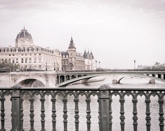 Paris Photo - Bridges over the Seine, Classic Black and White Photograph, Urban Home Decor, Wall Art, French Architecture