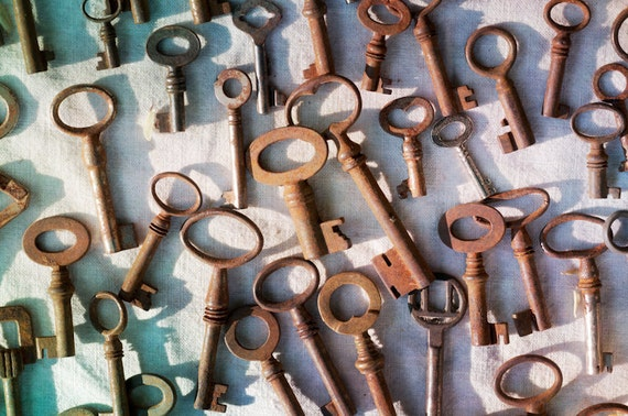 Paris Photograph – Still Life Fine Art Photography, Vintage Flea Market Keys, Paris France, Large Wall Art, Home Decor