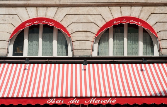 Paris Photo - Red Awning, Windows in Parisian Bar, Bistro, Fine Art Photograph, Home Decor