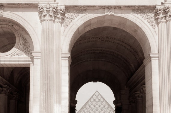 Paris Photo - Pyramid at the Louvre, Black and White Sepia Photograph, Classic Urban Home Decor, Wall Art, French Architecture
