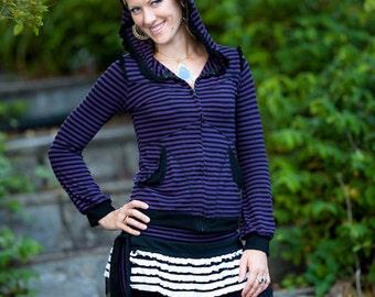 Purple Stripey Ruffle Hoodie