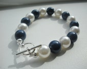 Blue and White Swarovski Pearl Bracelet