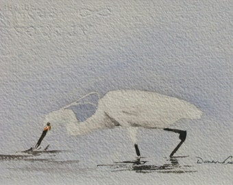 Fishing Egret - ORIGINAL Watercolor