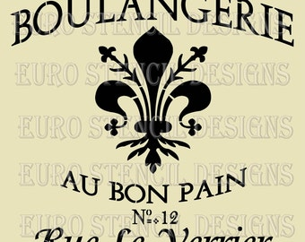 Euro Stencil Design .. Boulangerie Fleur de Lis French stencil used for burlap pillows, bedding, sign painting ... 18 x 18  inches