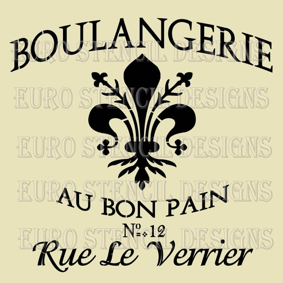 Euro Stencil Design .. Boulangerie Fleur de Lis French stencil used for burlap pillows, bedding, sign painting ... 12 x 12  inches