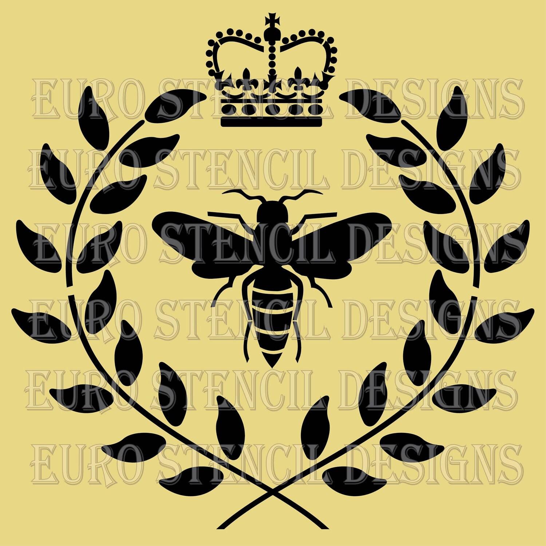 Euro Stencil Design Bee With Crown N Laurel Wreath
