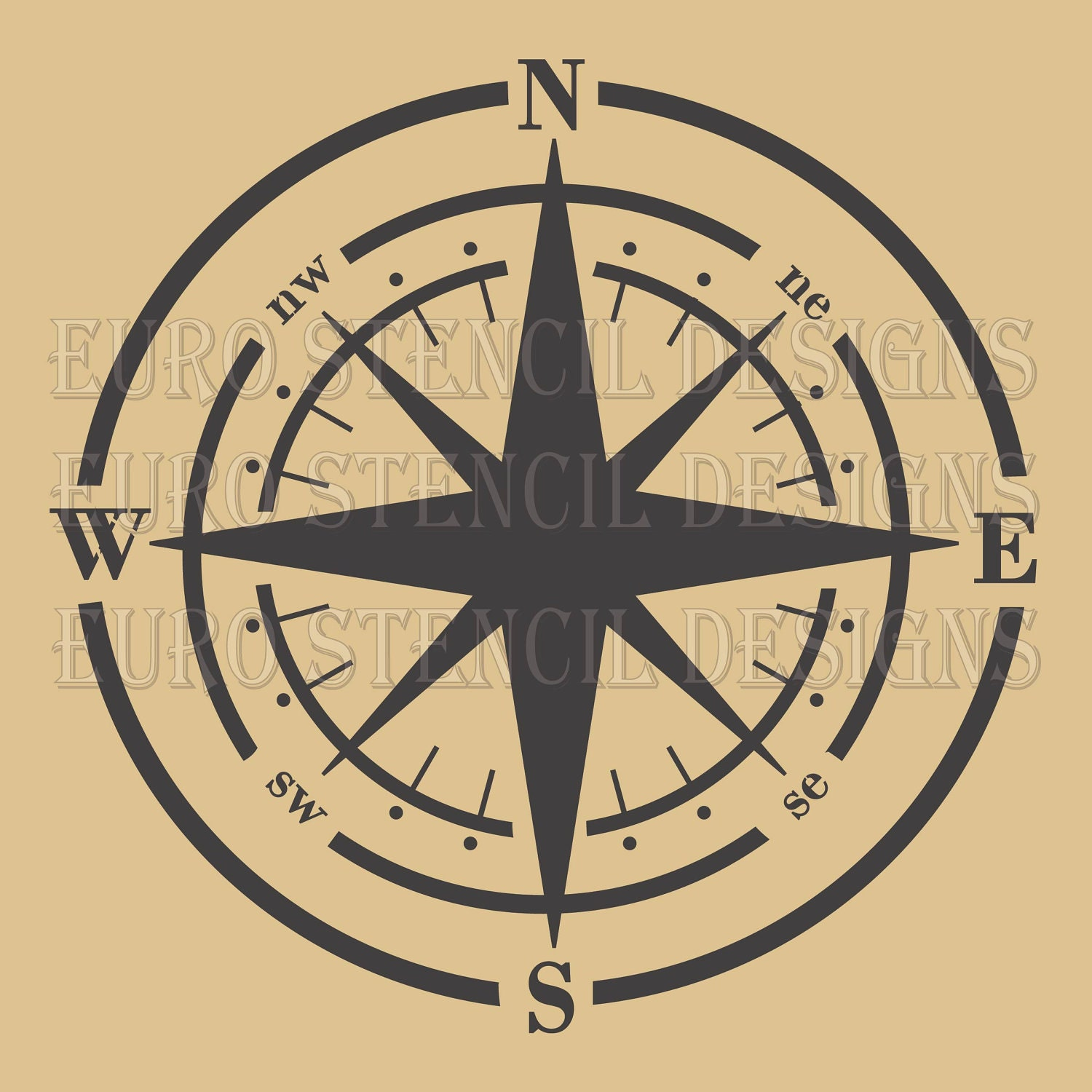 Euro Stencil Design Compass Shabby Chic French Used For