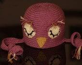 Purple Sleeping Owl Beanie