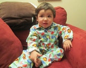 Custom Long Sleeve Button Up Flannel Pajama Sets 6mths-4T