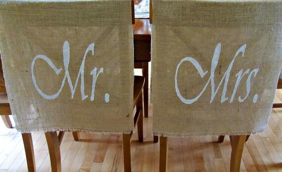 Mr & Mrs Burlap Wedding Decor Set Of 2 Chair Backs