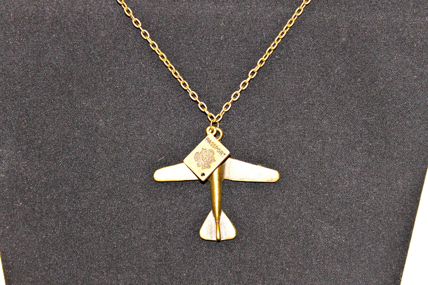 Airplane and Passport Pendant Necklace in Antique Bronze