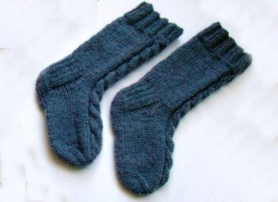 Grey Cabled Kid Socks Wool / Grey baby socks / Cabled wool socks