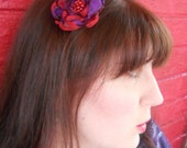 Red and Purple fabric flower hair clip