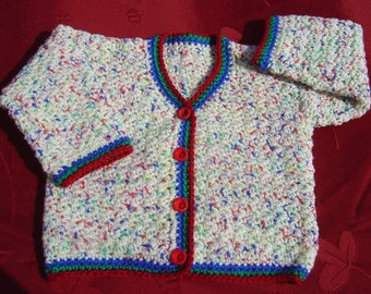 Multicoloured baby jacket with 3 colour trim