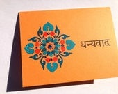 Bright Orange Hindi Thank You (Dhanyavad) Card with Blue and Orange Floral Decal and Gems