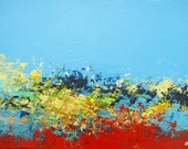 Abstract Landscape - acrylic painting on canvas - size 40cm x 30cm - FREE SHIPPING