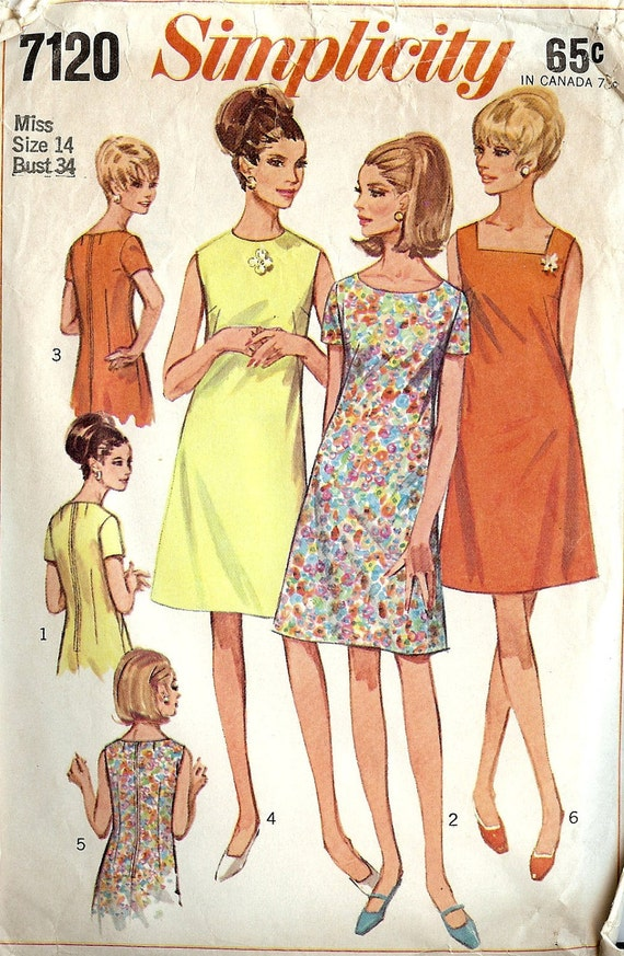 PATTERN Simplicity 7120 Classic shift dress with three - photo#10