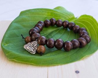 Yogi inspired wood bead bracelet with buddha Men's size