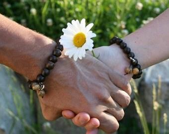 His and Hers His and His Hers and Hers Yogi inspired Buddha partner bracelets with wood beads, jasper, and Om charm for men or women