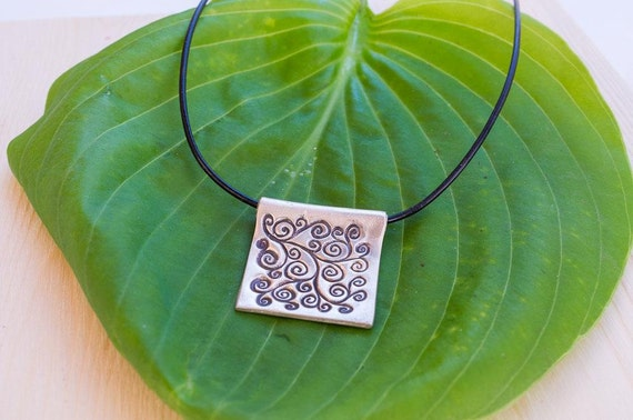 Square Fine Silver Necklace with Swirl Pattern