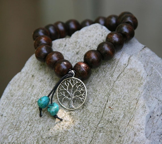 Yogi Inspired Wood Bead Bracelet With Tree Of Life Charm And
