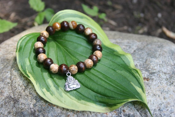 Yogi inspired wood bead bracelet with buddha natural picture jasper for men or women