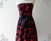 29 USD DRESS -Sale---Amor Vintage Inspired- Red Rose- Retro Romantic Strapless Cocktail Cotton Dress -XS-