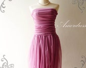 SALE---Amor Dress Vintage Inspired-  Tutu Pretty Pumpkin Skirt Cocktail Dress in Romantic Purple so Easy to Wear Fit S/M