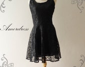 Amor Vintage Inspired- Romantic Floral Lace Classy Black Cocktail Lace Dress