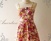 HOT SALE--Amor Vintage Inspired- Flower Garden- Valentine Spring Color Rose Bud Sweet Halter Cotton Dress -Fit XS and S-