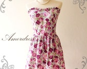 Amor Vintage Inspired Romantic Purple Rose Dress for Any Occasion- Once Upon a Time--Fit S-M-