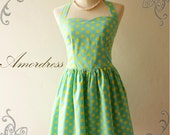 Retro Dress Party Bridesmaid Everyday Vintage Inspired Blue Yellow Polka Dot Dress Neck Tie Style - Once Upon A Time-  Size S-