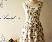 Amor Vintage Inspired- Call Me Maybe- Floral Love  -The Purple Paradise Vintage-Retro Dress -Fit Size M-