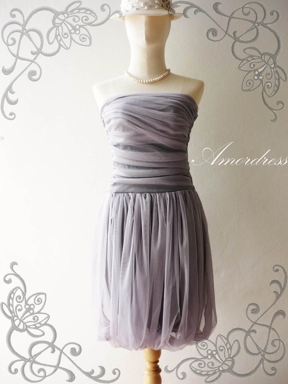 SALE---Amor Dress Vintage Inspired-  Tutu Pretty Pumpkin Skirt Cocktail Dress in Smoky Gray Purple so Easy to Wear Fit S/M