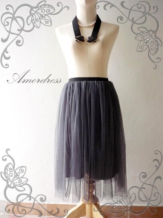 Im a Tulle SKIRT, sometimes a Mini DRESS - Magic Dark Gray - Vintage Inspired Playful Tutu Long Skirt Mix and Match