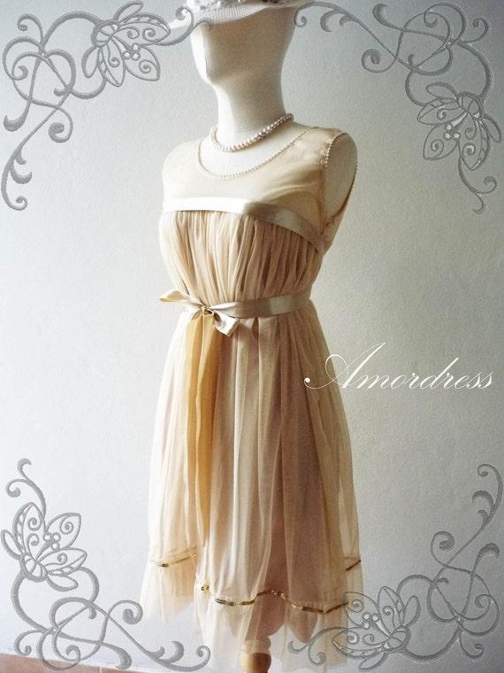 SALE- Amor Dress Vintage Inspired- A Lovely Tutu Cocktail Dress in Beige