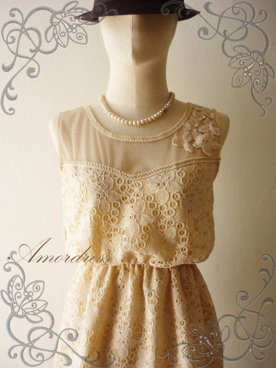 Amor Vintage Inspired- Princess Closet- Romantic Beige Cream Vintage Floral Cocktail Lace Dress -Fit XS and S