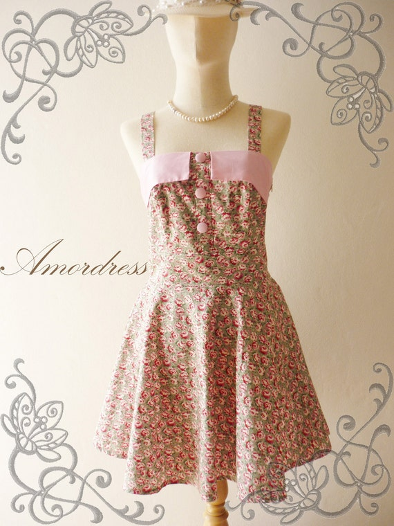 SALE---Amor Vintage Inspired- Romantic Light Green and Pink Shade Rose Bud Sweet Halter Cotton Mini Dress -Fit XS ,S , S/M-