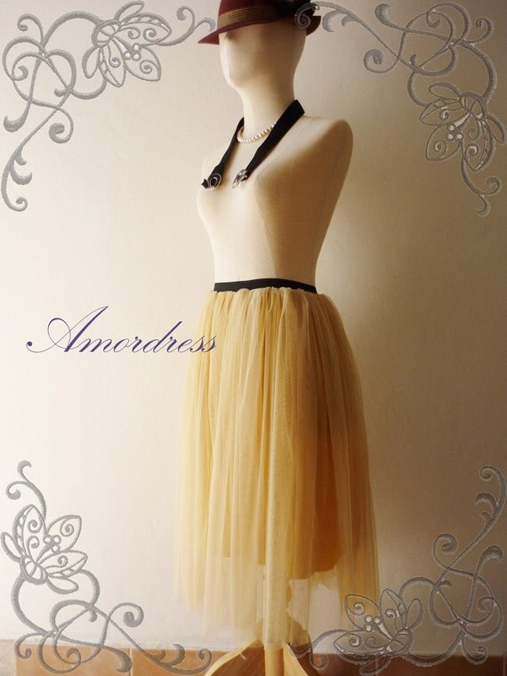 NEW--Im a Tulle SKIRT, sometimes a Mini DRESS - Pastel Yellow Beige- Vintage Inspired Playful Tutu Long Skirt Mix and Match