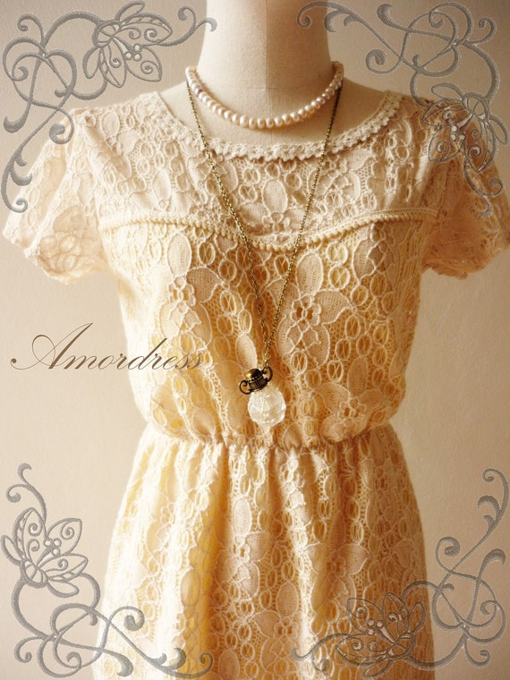 Valentine SALE - Amor Vintage Inspired- In the Garden- Whimsical  Lace Dress Little Open Back -XS and S-