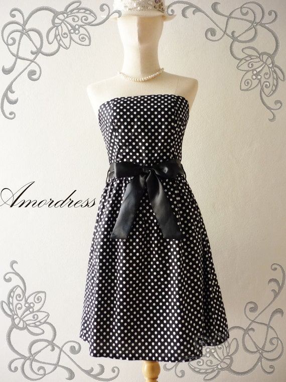 Amor Vintage Inspired- ReTrO PoLkA DoT-  Strapless Cocktail Cotton Dress in Black -XS-S-