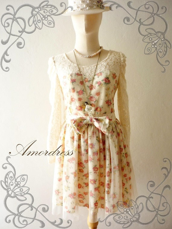 Limited--Amor Vintage Inspired- Fairy Tale Collection- Cutie Princess Long Sleeve Mini Lace Dress in Cream Shade -Fit S-