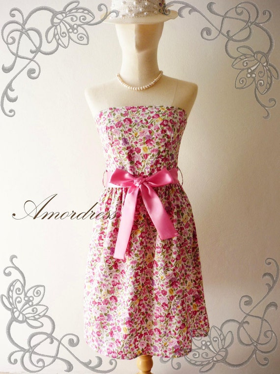 HOT SALE Amor Vintage Inspired- Spring Floral-  Lively Floral Strapless Cocktail Cotton Dress in Pink Shade -XS-S-