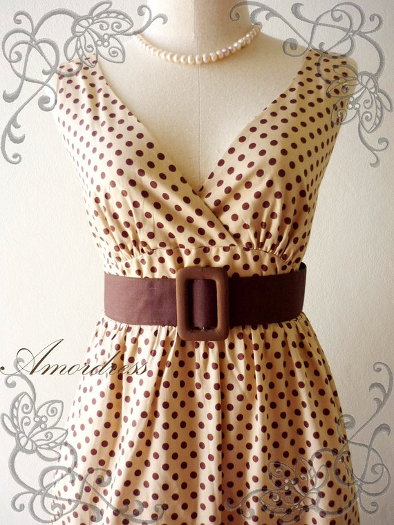 Polka Dot Love - Retro Summer Dress Vintage Inspired Cocktail Cotton Dress in Brown Shade Party or Everyday Dress -S-M-