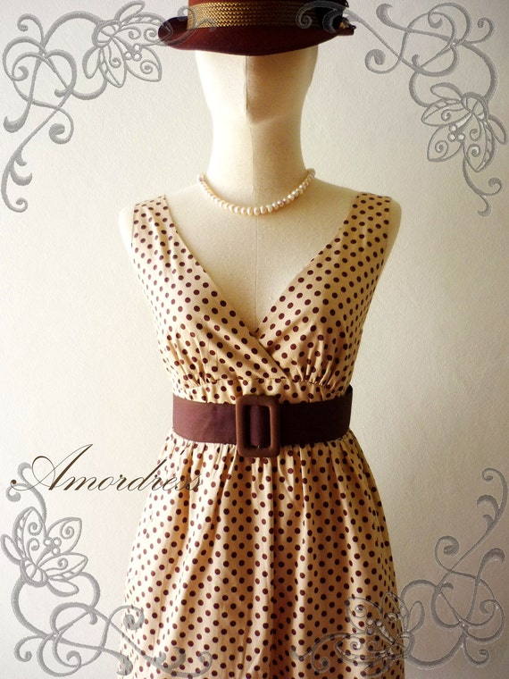 Amor Vintage Inspired- Vintage Retro- PoLkA DoT- Cocktail Cotton Dress in Brown Shade Party or Everyday Dress