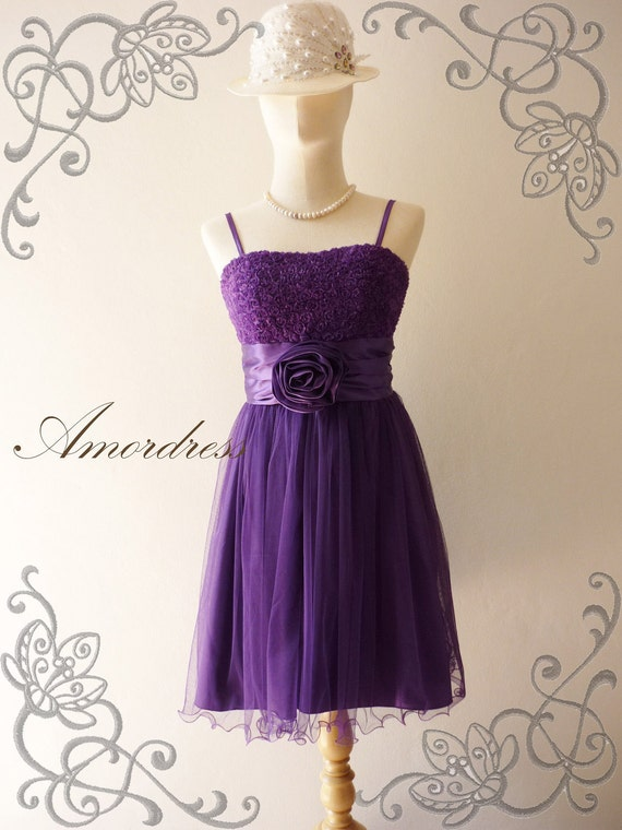 Amor Vintage Inspired- Romanic Girl - Flower Tulle Gorgeus Mini Dress in Sassy Purple for Wedding, Prom, Party -XS and S-