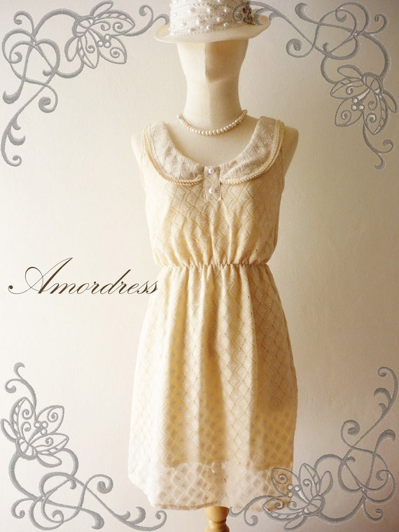 SALE--Amor Vintage Inspired- You are my favourite - Whimsical Lace in Light Beige Cream Homemade Cocktail Dress XS/S